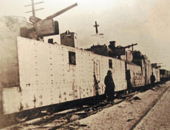 Бронепоезд №16 в обороне Тулы после ремонта в паровозном депо. Октябрь 1941 г.