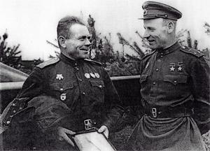 Подполковник В. Зайцев и полковником А. Осадчий. 1943 г.