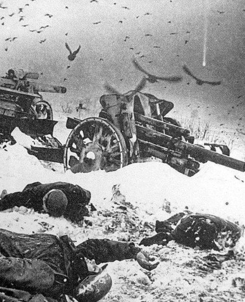 Поле боя после советского наступления. Декабрь 1941 г.