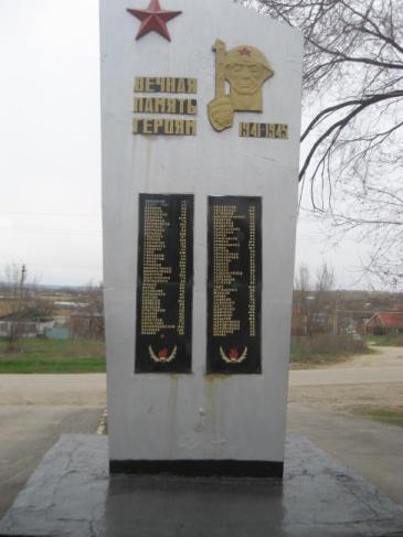 сл. Красюковская Октябрьского р-на. Памятник, установленный на территории средней школы №62 в честь погибших земляков.