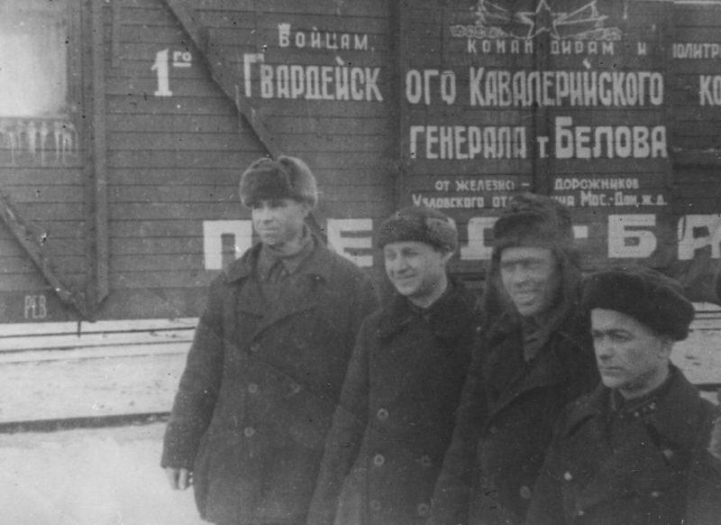 Поезд-баня, изготовленный туляками для кавалерийского корпуса генерала Белова. Февраль 1942 г.
