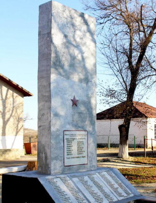 х. Орлов Милютинского р-на. Памятник, установленный на братской могиле, в которой захоронено 192 воина, погибших при освобождении хутора в декабре 1942 года.