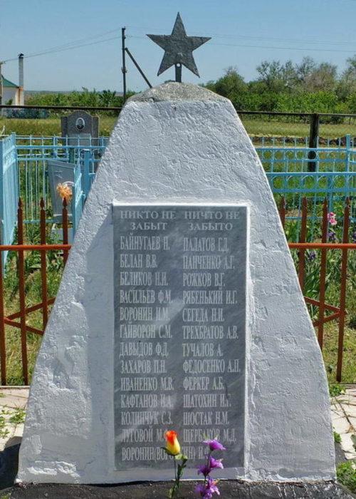 х. Валуйский Пролетарского р-на. Братская могила, в которой захоронено 32 советских воина.
