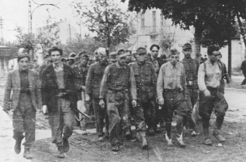Колонна пленных немецких солдат на улице Белграда. Октябрь 1944 г.