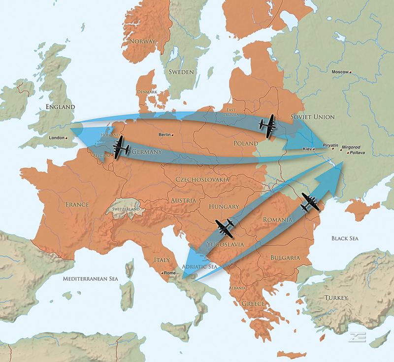 Карта-схема челночных полетов бомбардировочной авиации США.
