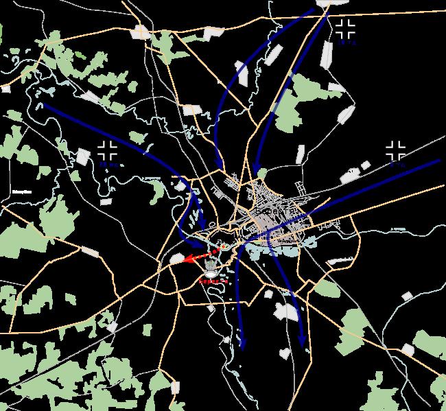 Карта-схема битвы за Брест.