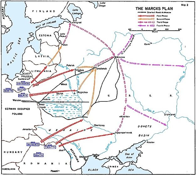 Схема ударов немецких войск по плану генерала Э. Маркса. 5-6 августа 1940 г.