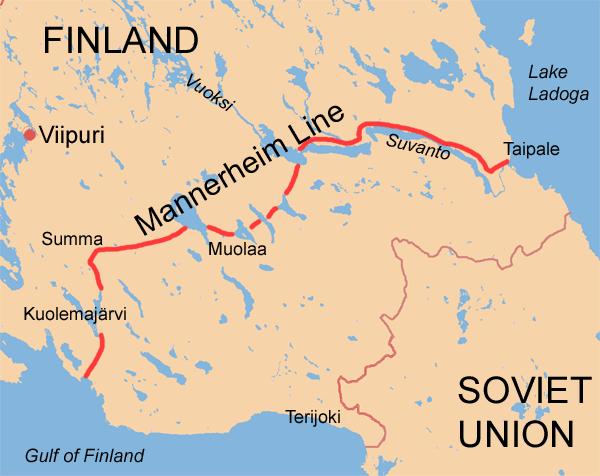Схема размещения линии Маннергейма.