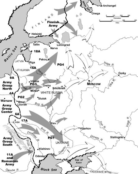 Карта-схема общего плана «Барбаросса».