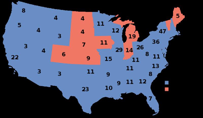 Карта результатов президентских выборов. Красным обозначены штаты, поддержавшие республиканцев, синим – демократов.