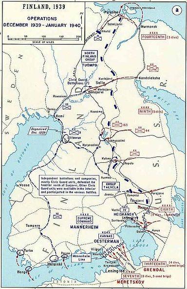 Схема военных действий на Карельском перешейке в декабре 1939 - январе 1940 года.