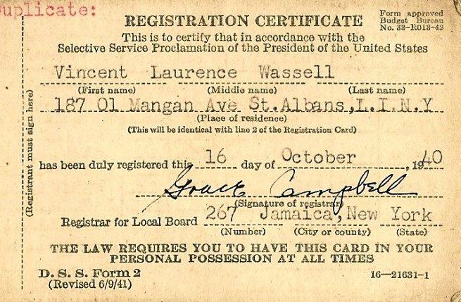 Регистрационная карточка военнообязанного.