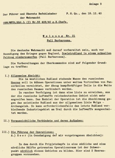 Страницы общего плана «Барбаросса», оглашенного 31 июля 1940 г.