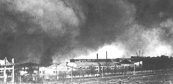 Горит завод «Большевик». Киев. 22 июня 1941 г.
