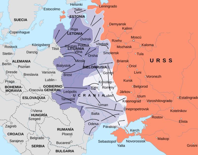 Карта Восточного фронта с 21 июня по 9 сентября 1941 г.