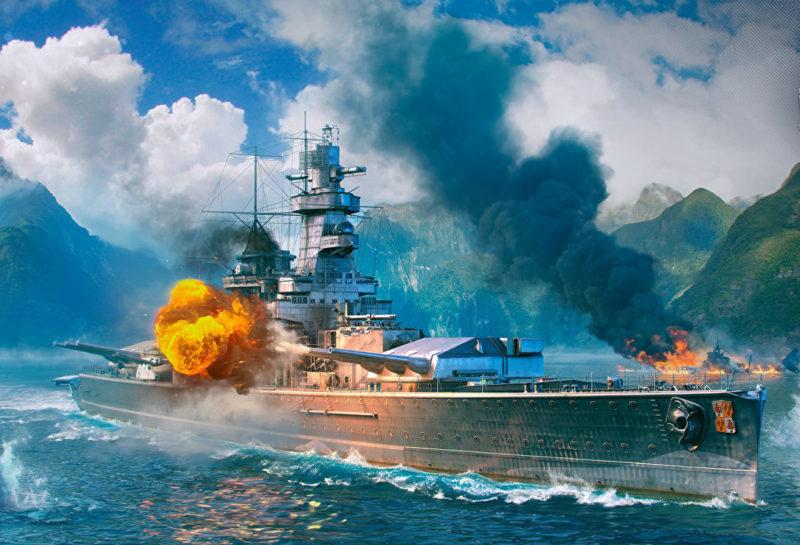 Крейсер «Адмирал граф Шпее» ведет бой.