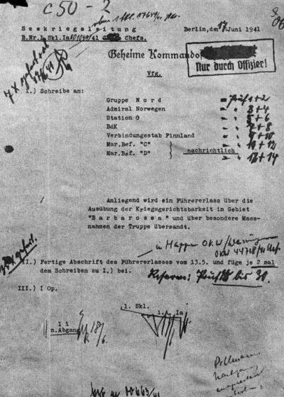 Сопроводительная записка к приказу «Об особой подсудности в районе «Барбаросса» от 13 мая 1941 г.