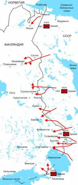 Схема наступления частей Красной Армии в декабре 1939 года.