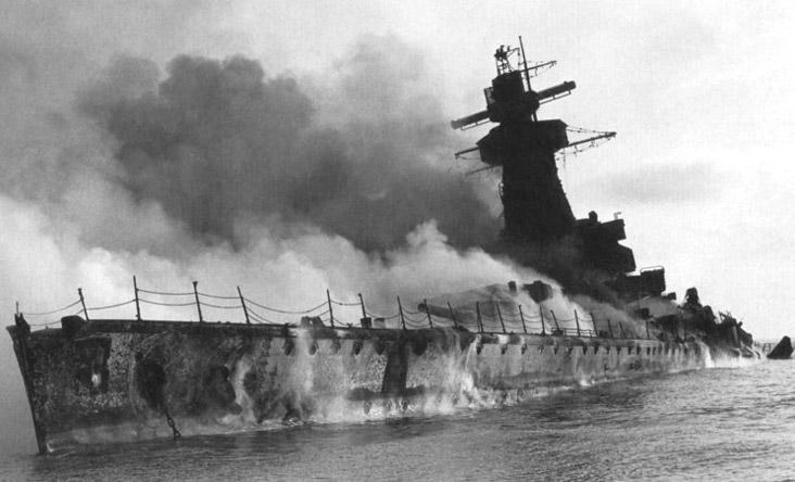 Пожар на крейсере «Адмирал граф Шпее».