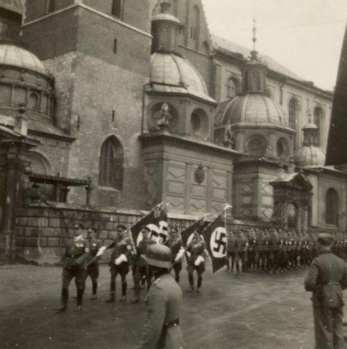 Немецкие войска на улице Кракова. 1939 г.
