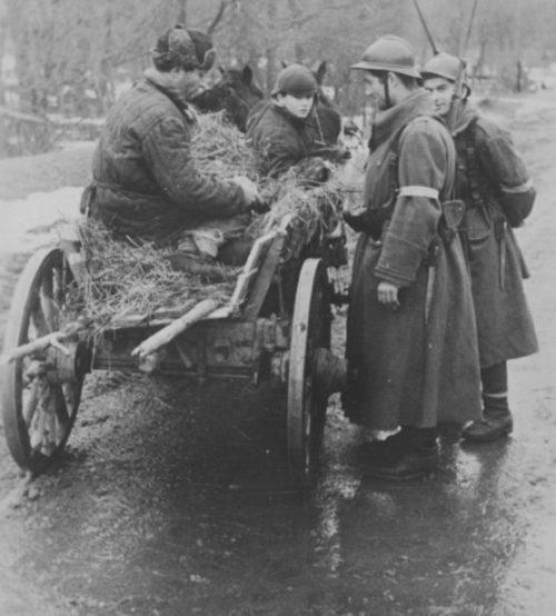 Румыны обыскивают подводу на дороге в Крыму. Январь 1942 г.