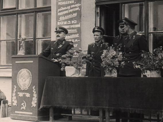 Выступление П.А. Покрышева на открытии восстановленной школы в городке Горелово. 1952 г.