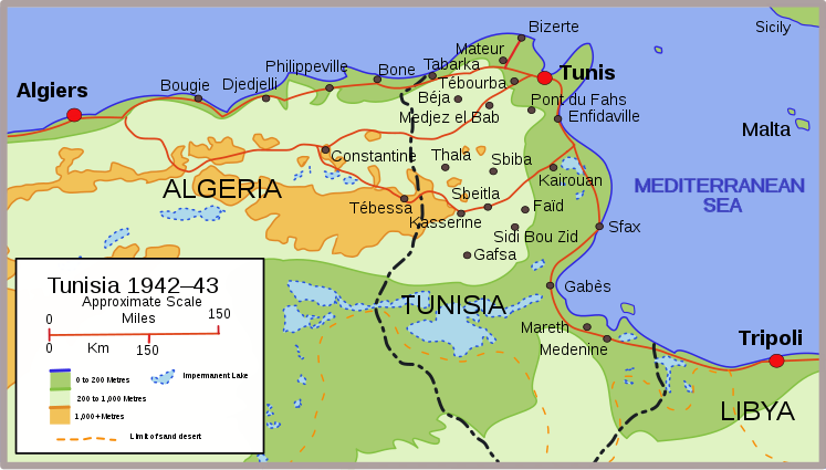 Карта Туниса времён кампании 1942-1943 г.