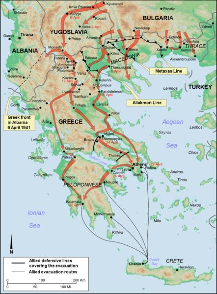 Наступление сил «Оси» и пути эвакуации сил Союзников на Крит.