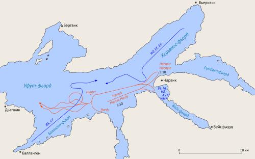 Схема первого морского боя у Нарвика. 10 апреля 1940 г.