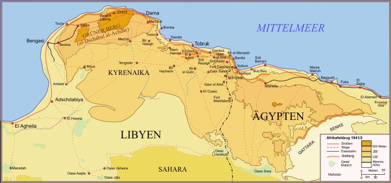 Карта египетско-ливийской границы 1940-1941 годы.