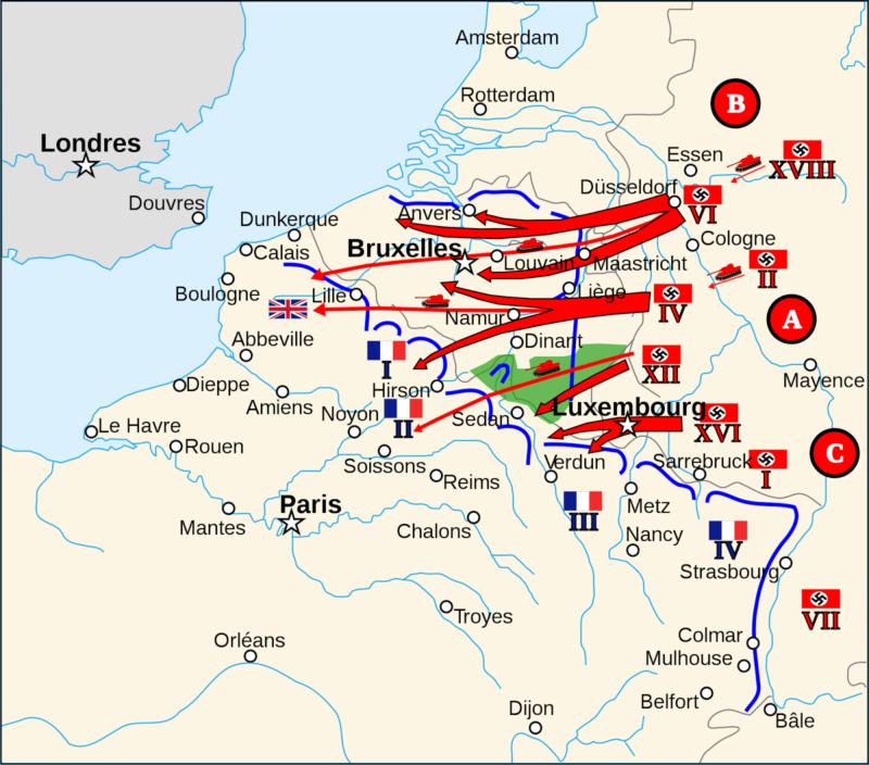 Карта-схема вторжения Германии во Францию.