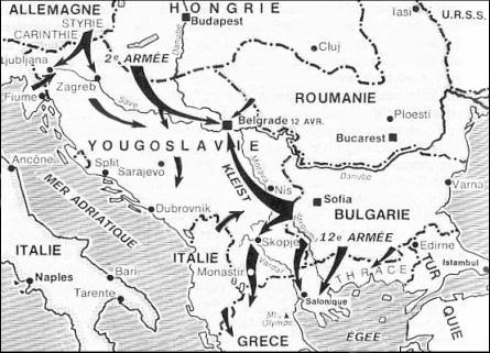 Карта-схема вторжения в Югославию.