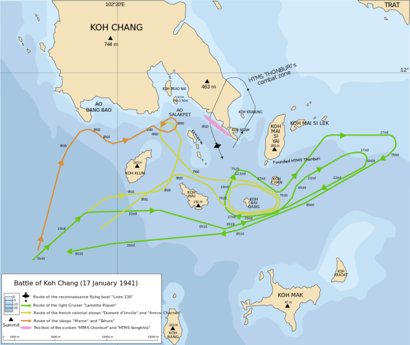 Карта-схема морского сражения между французским и таиландским флотами у Ко-Чанга.