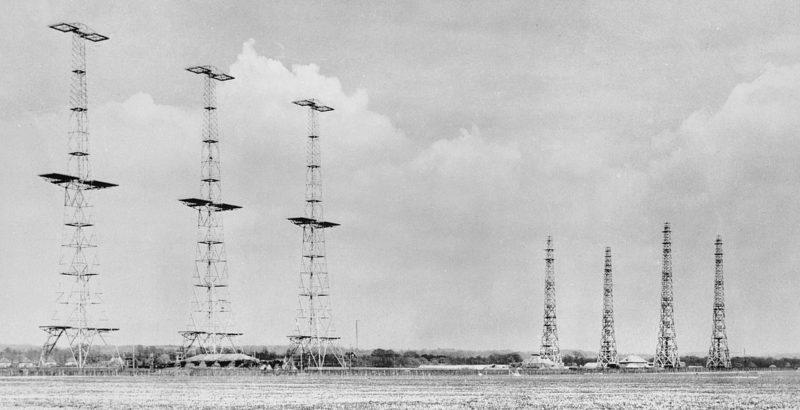 Цепь радиолокационных установок AMES на восточном побережье. 1940 г.