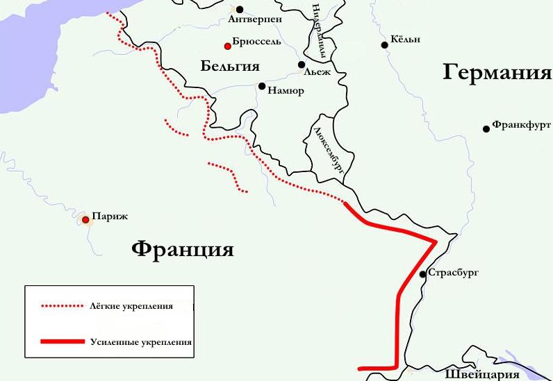 Карта-схема размещения Линии Мажино.