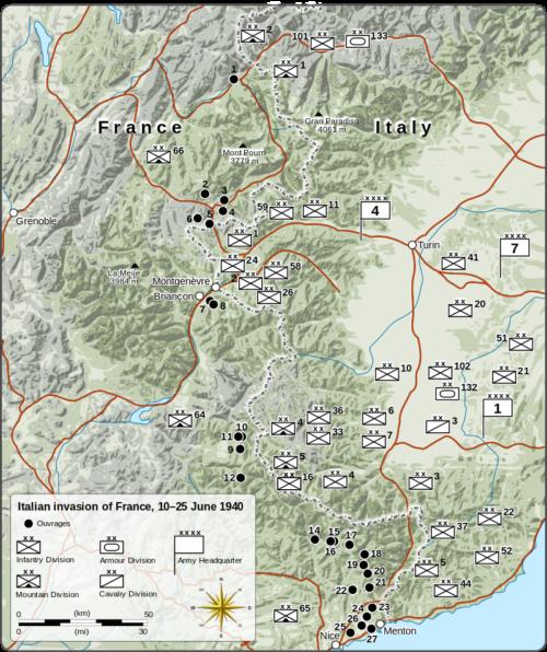 Схема размещения опорных пунктов на Альпийской линии.