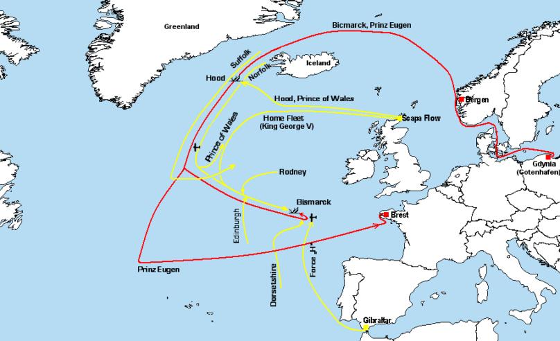 Карта-схема преследование «Бисмарка»: красный - немецкая эскадра, жёлтый - британский флот.