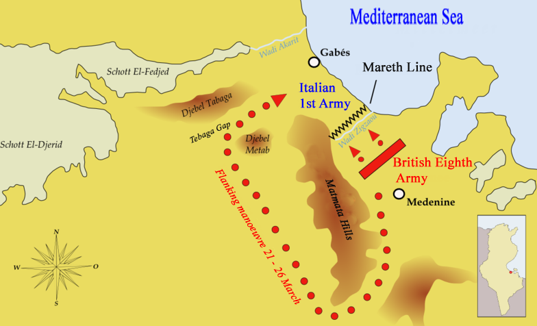 Обход линии Марета британским X-м корпусом.