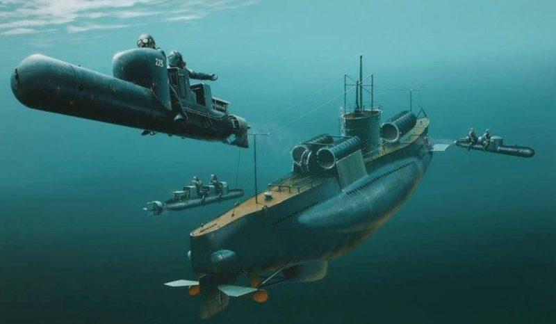 Итальянская подлодка «Scirе» выпускает человекоуправляемые торпеды «Майяле».