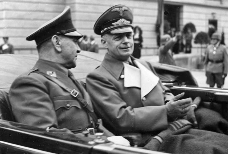 Анте Павелич (слева) и Иоахим фон Риббентроп в Зальцбурге, 6 июня 1941 г.