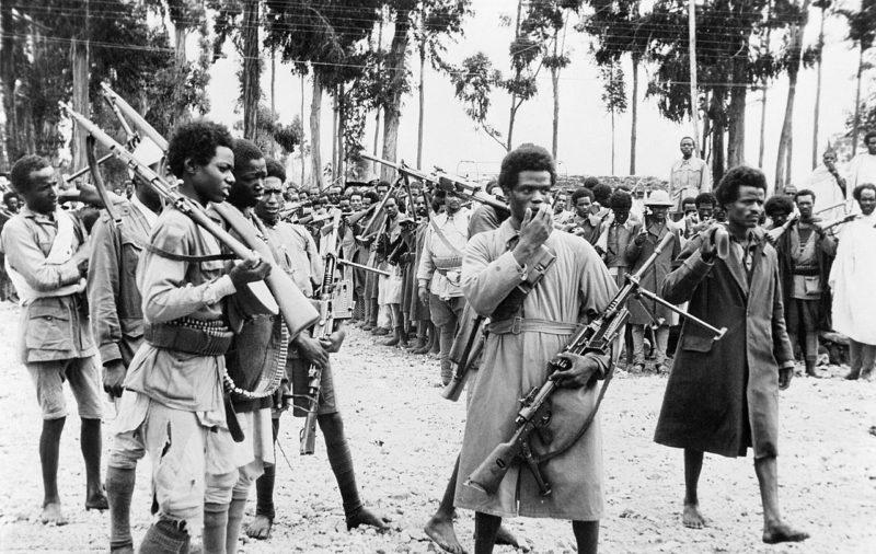 Эфиопские солдаты, вооруженные захваченным у итальянцев оружием.