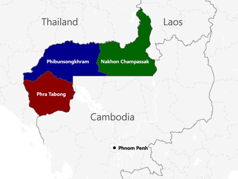 Провинции Французской Камбоджи, отошедшие Таиланду согласно Токийскому договору.