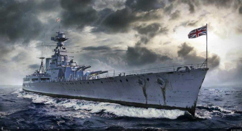 Британский крейсер «Худ».