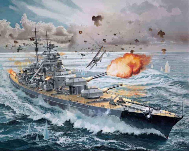 «Бисмарк» отражает атаку самолетов с авианосца «Викториес».