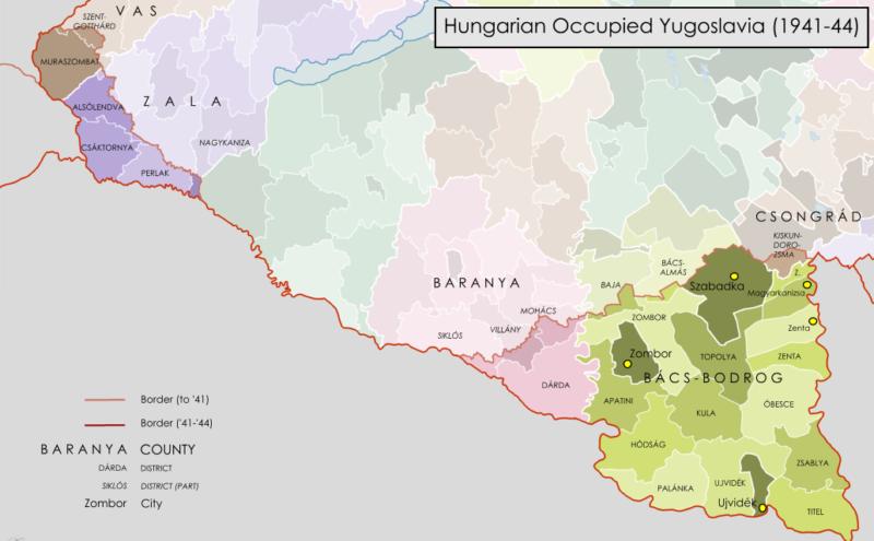 Карта административно-территориального деления земель Югославии под управлением Венгрии.
