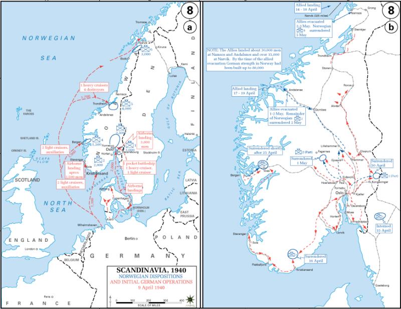 Карты-схемы вторжения немецких войск в Норвегию. 9 апреля 1940 г.