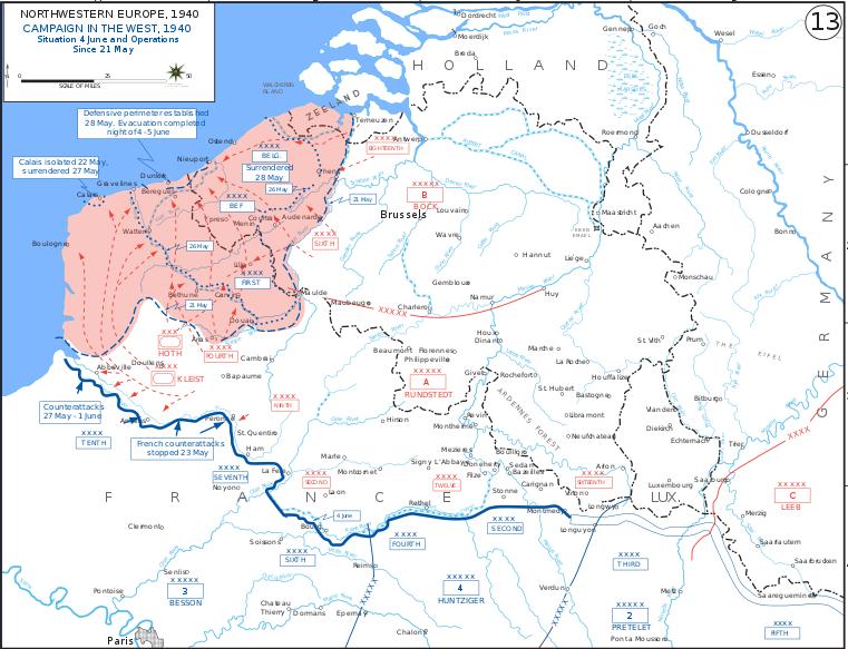 Карта Французской компании на 21.05-04.06 1940 г.