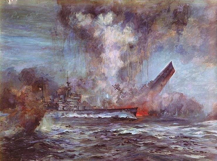 Фрагмент боя крейсера «Худ» и линкора «Бисмарк» глазами художника JC Schmitz-Westerholt.