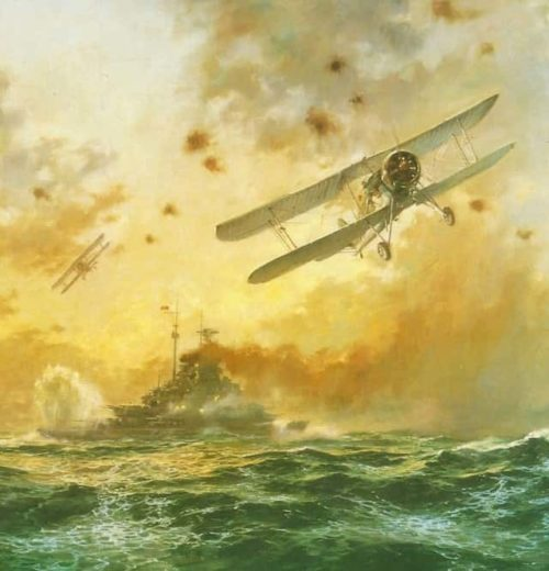 Атака «Бисмарка» самолетами с «Арк Ройял» – торпеда попала в корму.