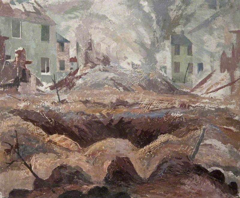 Картина Яна Флеминга «Кратер бомбы» с изображением разрушений в Глазго.